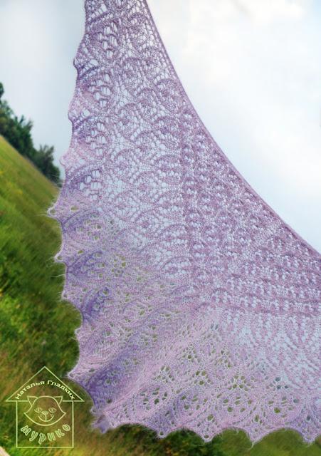 шаль, вязание спицами, мурико, м