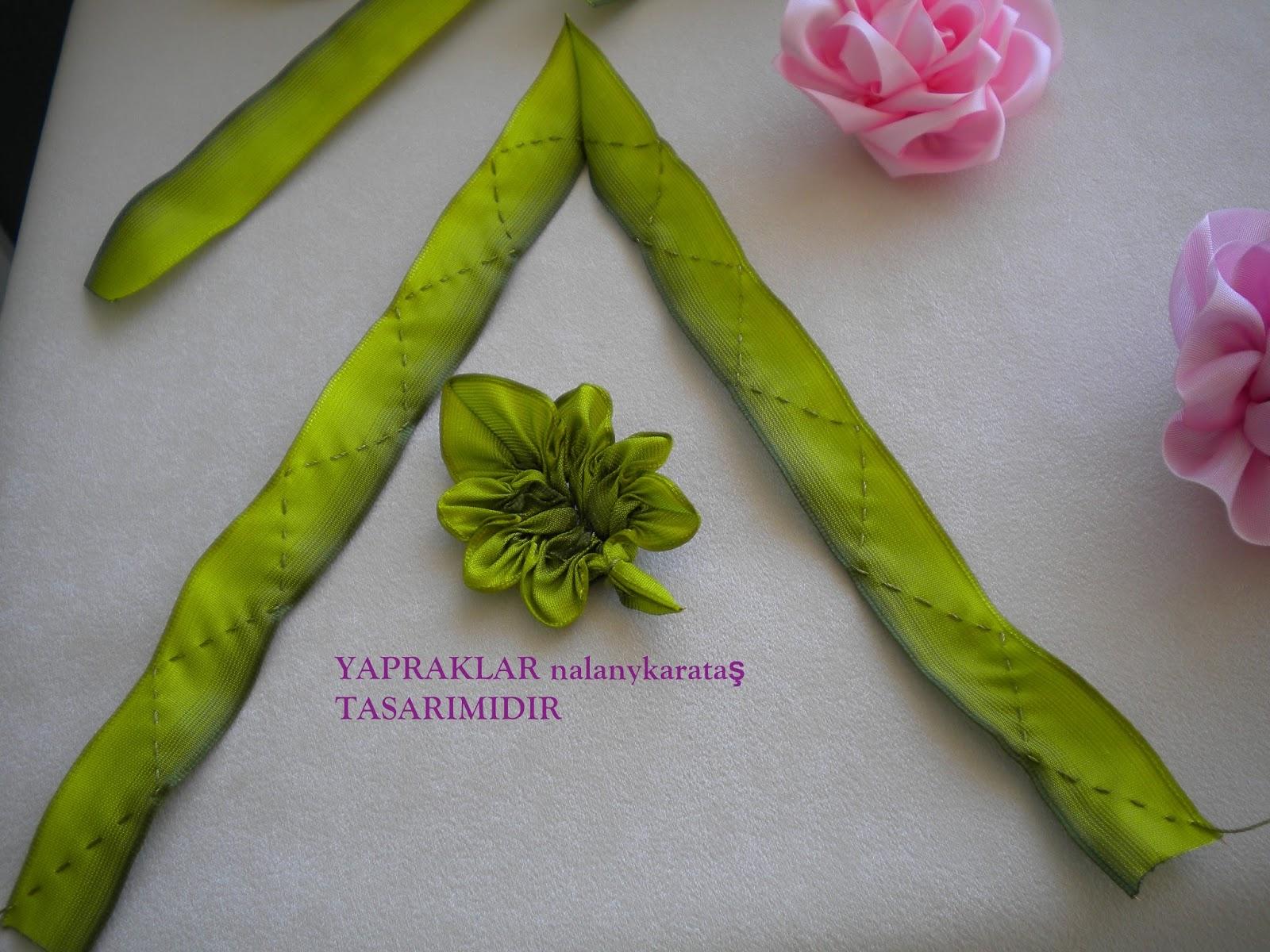 Как сделать листья для цветов из атласных лент8