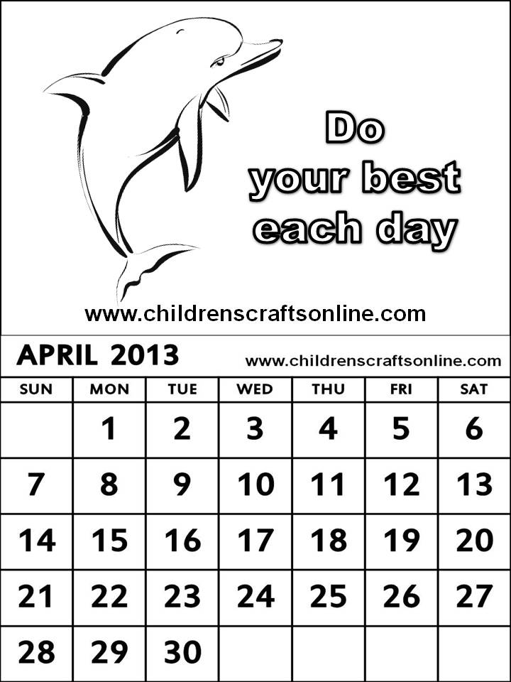 calander free colouring pages