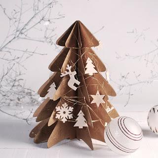 decoracion arbol de navidad de carton dorado fieltro self packaging