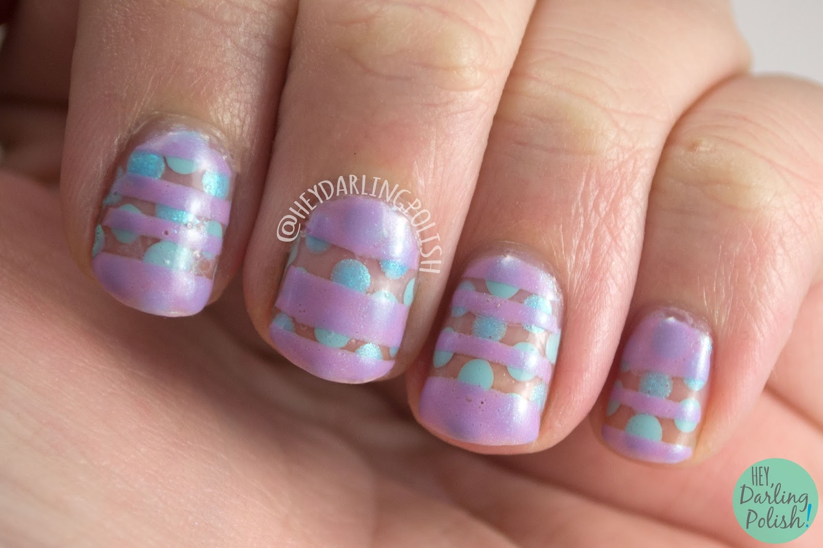 nails, nail art, nail polish, polka dots, stripes, pastels, hey darling polish, 52 week challenge, purple, blue