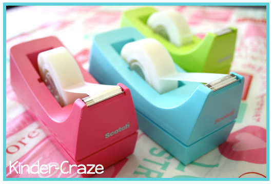 Love these colorful tape dispensers