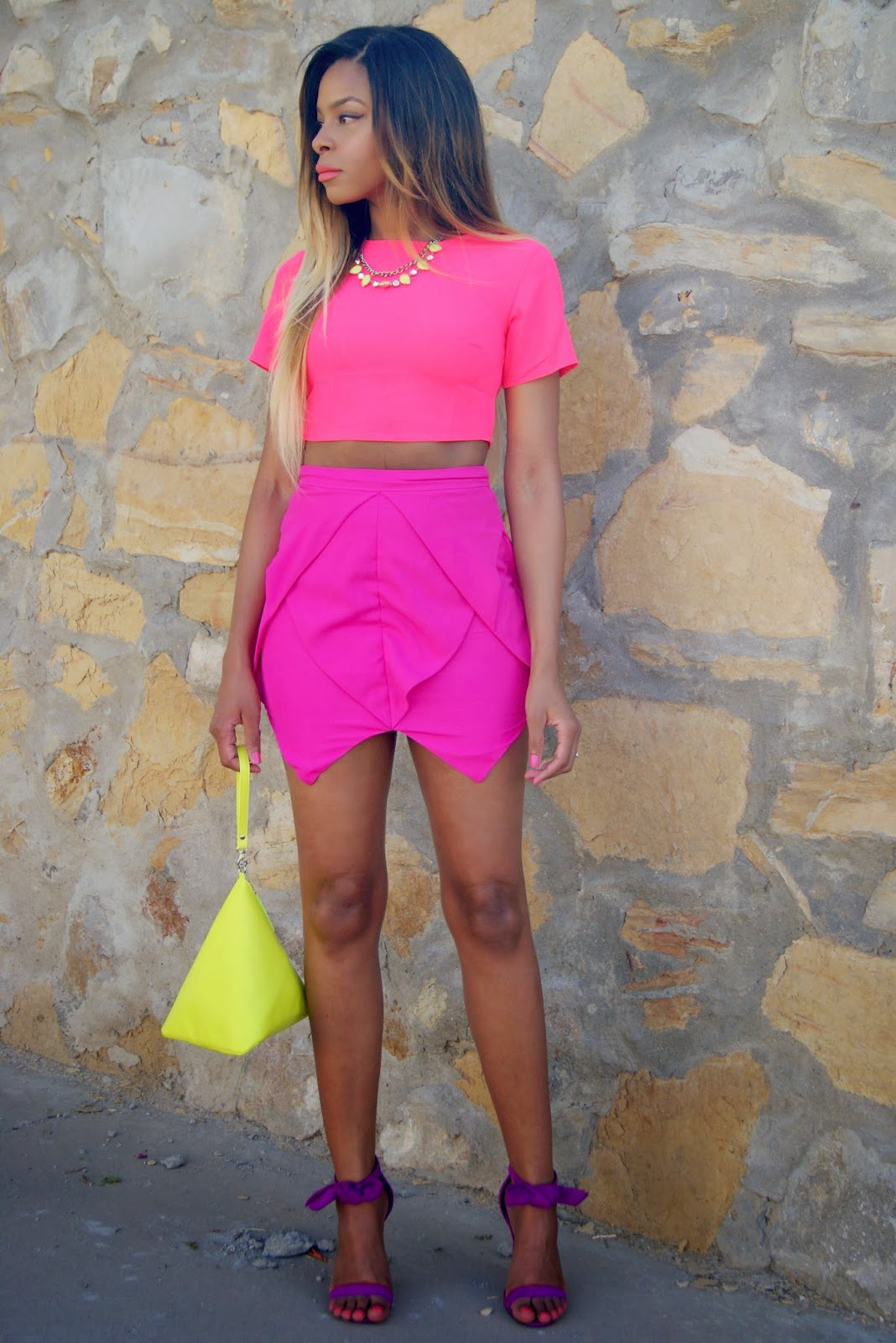 allthingsslim, neon skirt, nasty gal, asos, missguided, color blocking