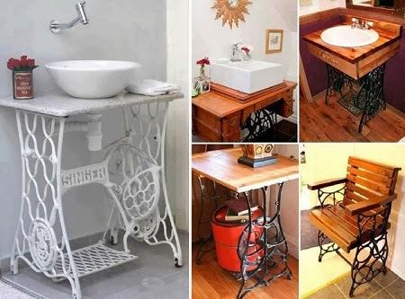 Mesas con maquinas de coser recicladas - Mesas para coser a maquina ...