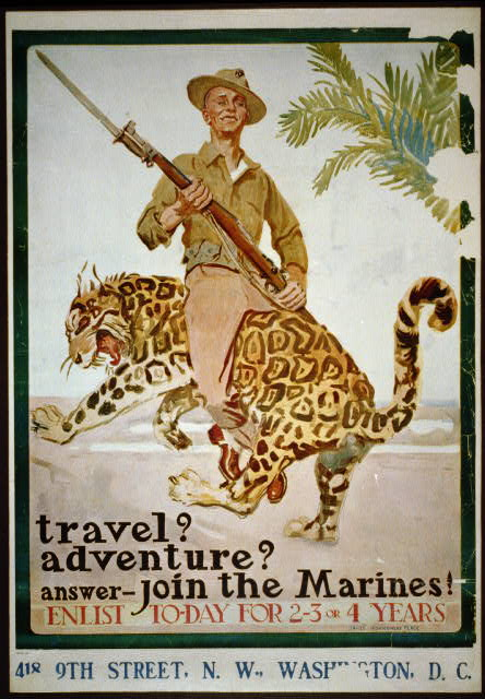 advertising, travel, travel posters, war, military, vintage, vintage posters, retro prints, classic posters, free download, graphic design, Travel? Adventure? Join the Marines! Enlist Today - Vintage War Military Recruitment Poster