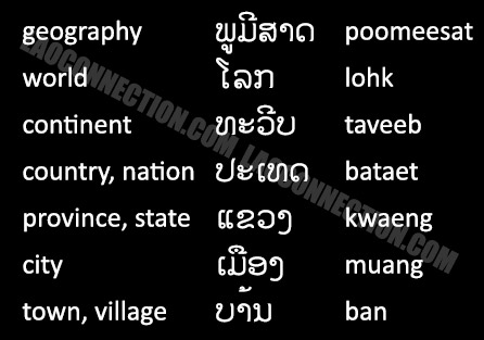 Lao Language: Geography Words - written in Lao and English.