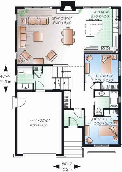 planos y fachada de casa habitacin a medio niveles