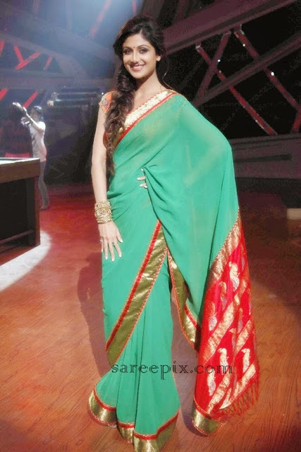 Shilpa shetty in green saree at Nach baliye semi finals