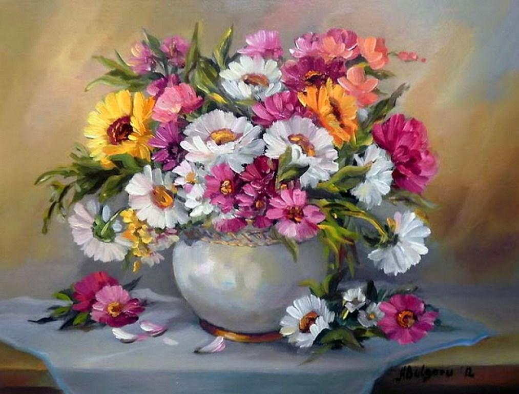Paisajes bodegones jarrones decorativos con flores pintura - Cuadro decorativos modernos ...