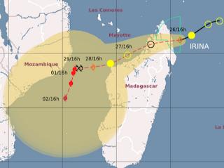 Zyklon IRINA bei Madagaskar wird wahrscheinlich zu einem starken Hurrikan, Irina, aktuell, Indischer Ozean Indik, Zyklonsaison Südwest-Indik, Madagaskar, Vorhersage Forecast Prognose, Februar, 2012,