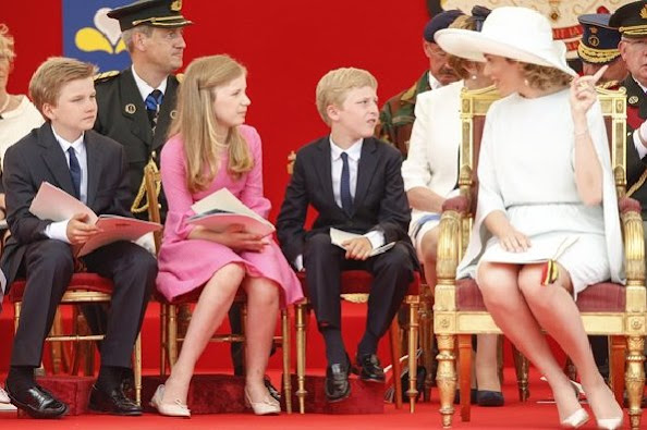 King Philippe - Filip and Queen Mathilde of Belgium, and Belgium's Princess Eleonore, Prince Gabriel, Crown Princess Elisabeth, Prince Emmanuel