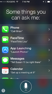 Phone screen showing list of things Siri can do