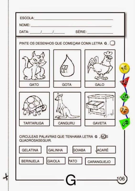 Conhecido Atividades com a Letra G para Educação Infantil   Viver de Educar UD04