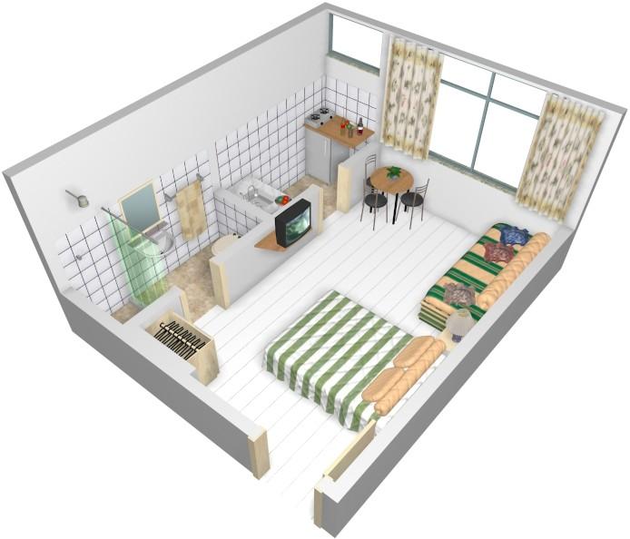 decorar kitnet homem:Small Studio Apartment Design Plans