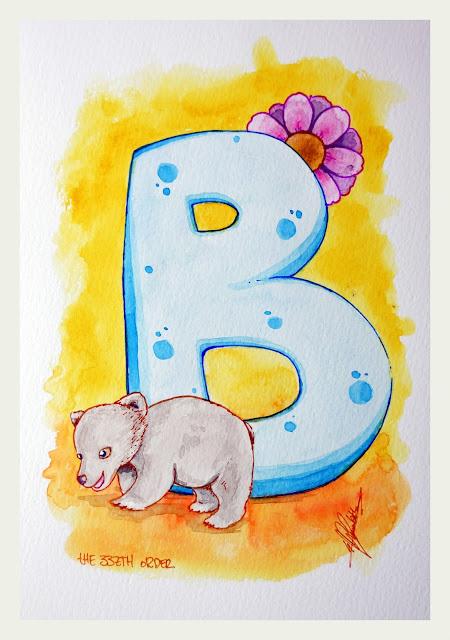 B for bear, cute alphabet by Elizabeth Casua, tHE 33ZTH oRDER. Watercolour  + ink artwork