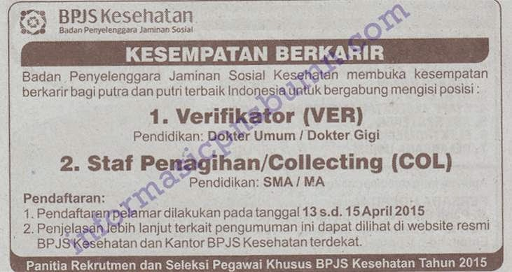 BPJS Kesehatan - Recruitment Collection, Verifier Staff