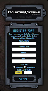 Form register di halaman CSO - Cara Daftar Game Counter Strike Online / CSO di Megaxus
