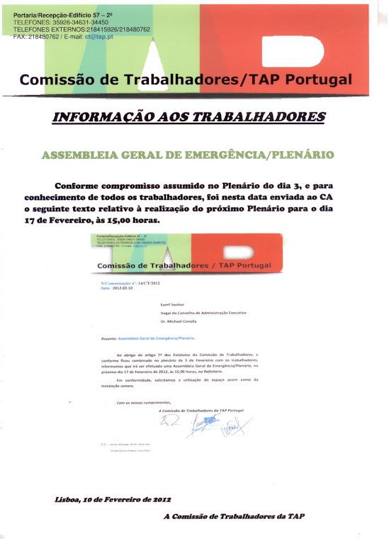 Informação aos Trabalhadores Plenário17FEV2012
