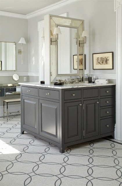ann sacks gray white circular pattern tile mirrored built in vanity master bathroom gray vanity