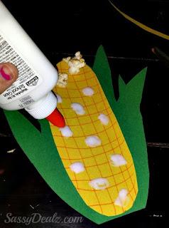 glue popcorn on the corn
