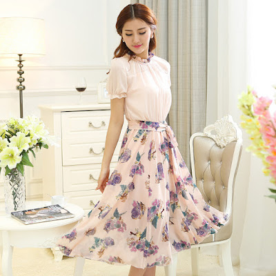 Model Dress Baju Pesta Sifon Korean O neck Cantik