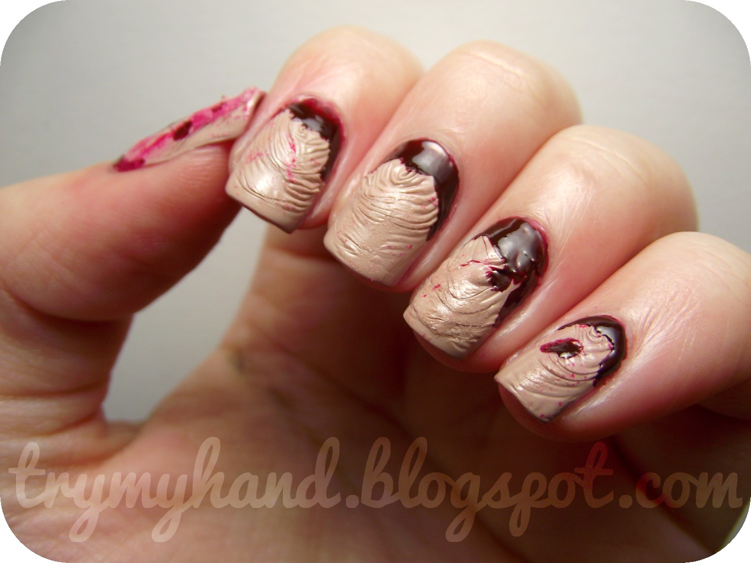 Try My Hand: Halloween Nails : Ripped Flesh