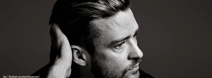 Couverture facebook noir et blanc Justin Timberlake