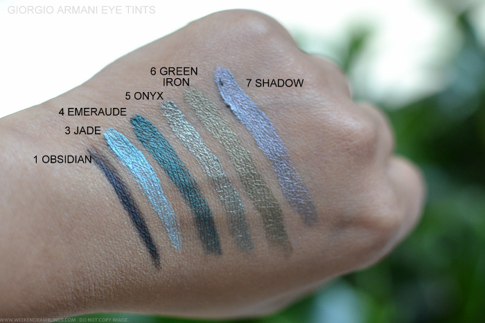 Giorgio Armani Eye Tint Fluid Color Swatches 1Obsidian 3Jade 4Emeraude 5Onyx 6Green Iron 7Shadow