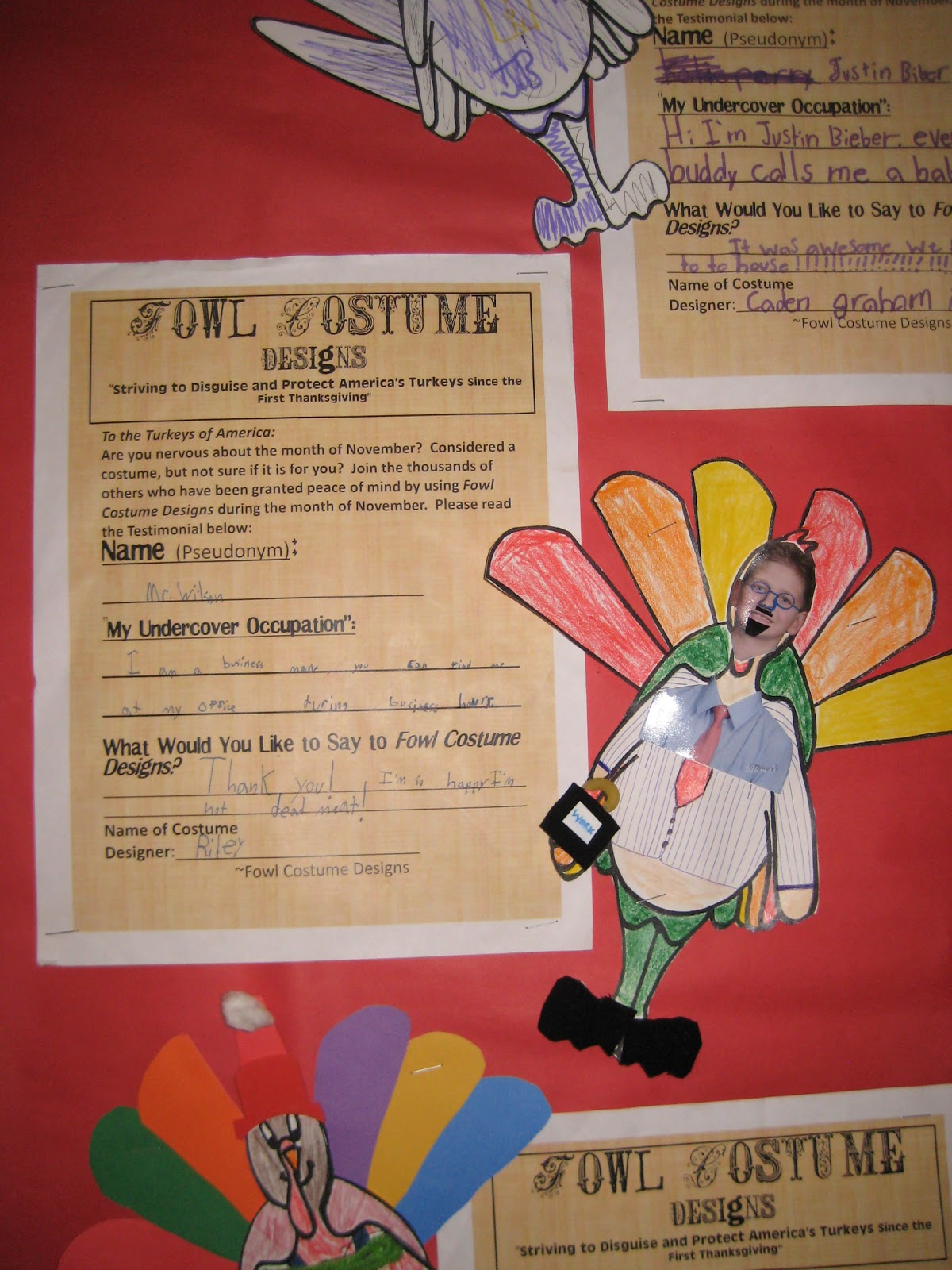 Disguise a Turkey http://mrspattonclassroom.blogspot.com/2012/01/disguise-turkey.html