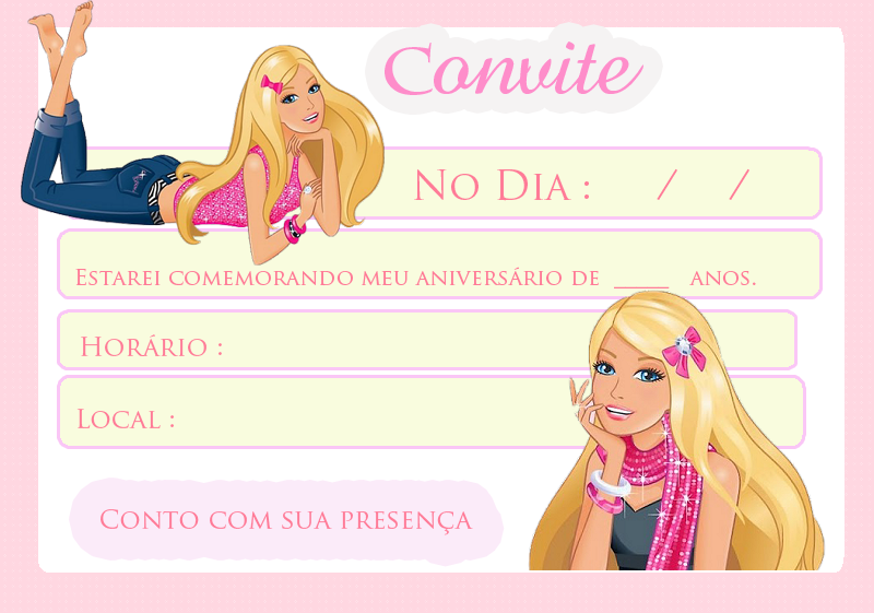 convite festa barbie