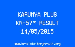 Karunya Plus KN 57 Lottery Result 14-5-2015