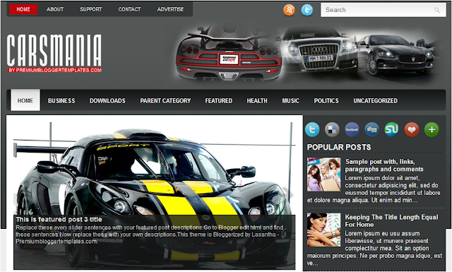 Cars Theme Blogger Template