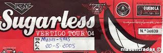 entrada de concierto de sugarless