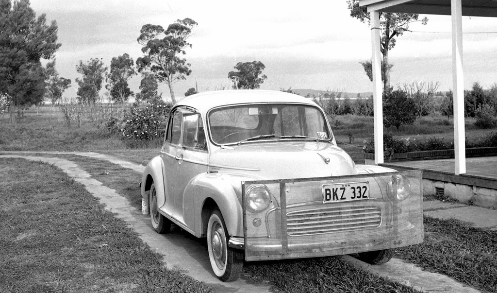Morris Minor 1000, pictured in NSW with Roo guard