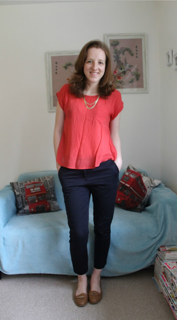OOTD Coral Top Navy Trousers Primark Fashion Bloggers Blog