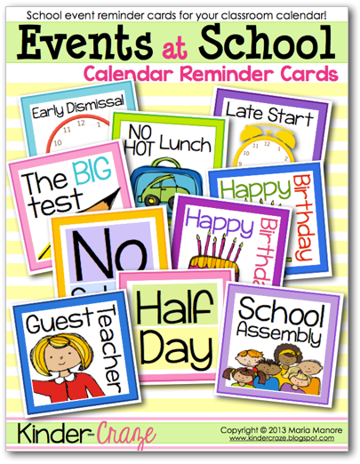 FREE cards to announce school and  events on your classroom calendar