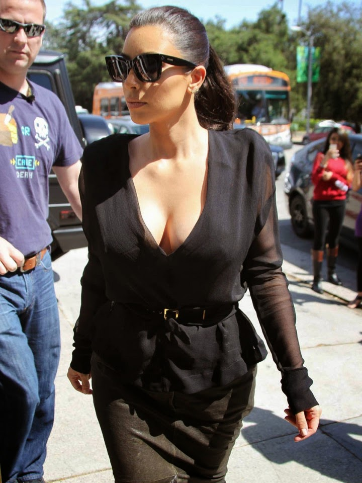 Kim Kardashian spotted in a low-cut top with unflattering skirt in LA
