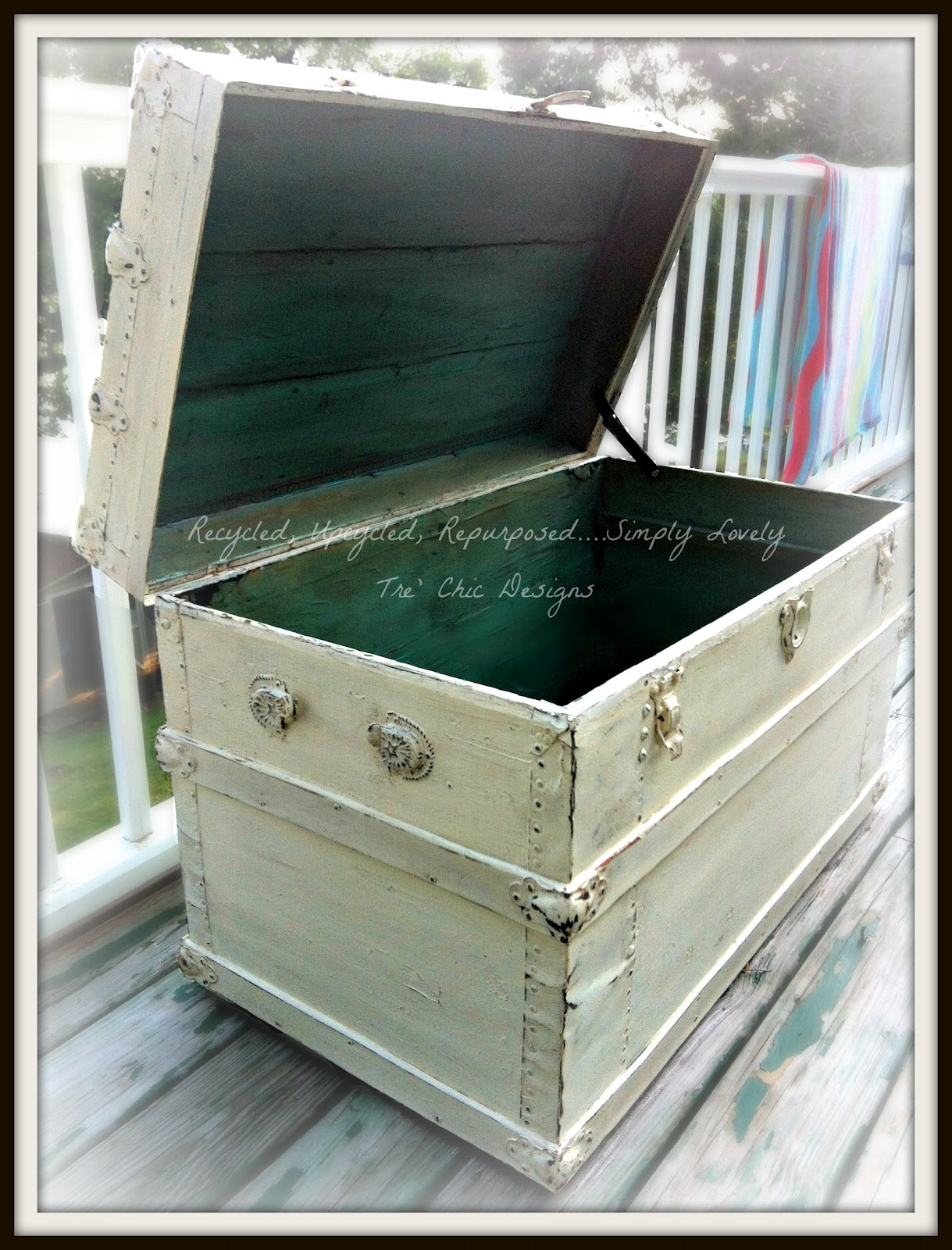 Recycled upcycled repurposed simply lovely tre 39 chic - How to paint an old trunk ...
