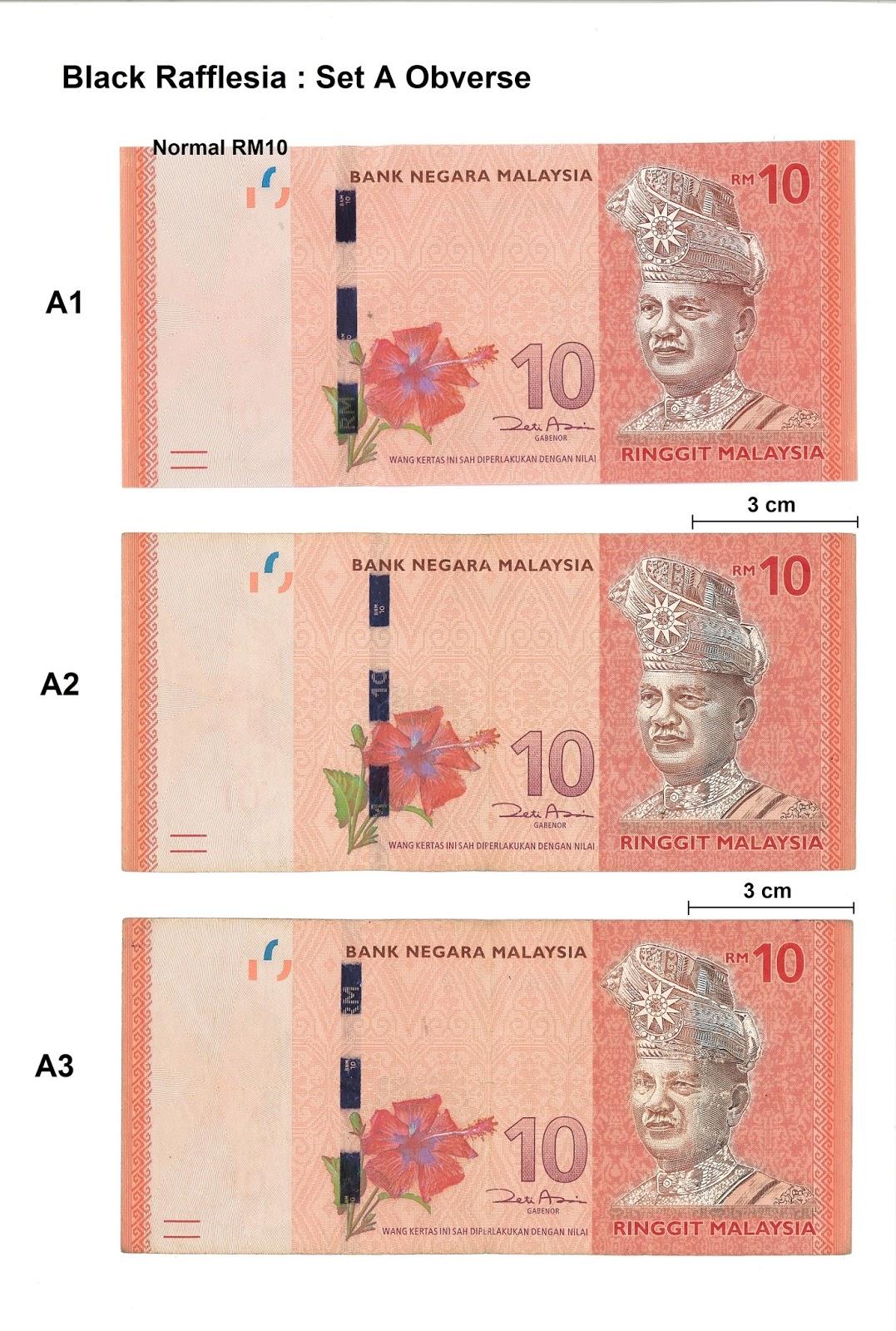 Malaysia 12th Series RM10 Black Rafflesia - Set A Obverse