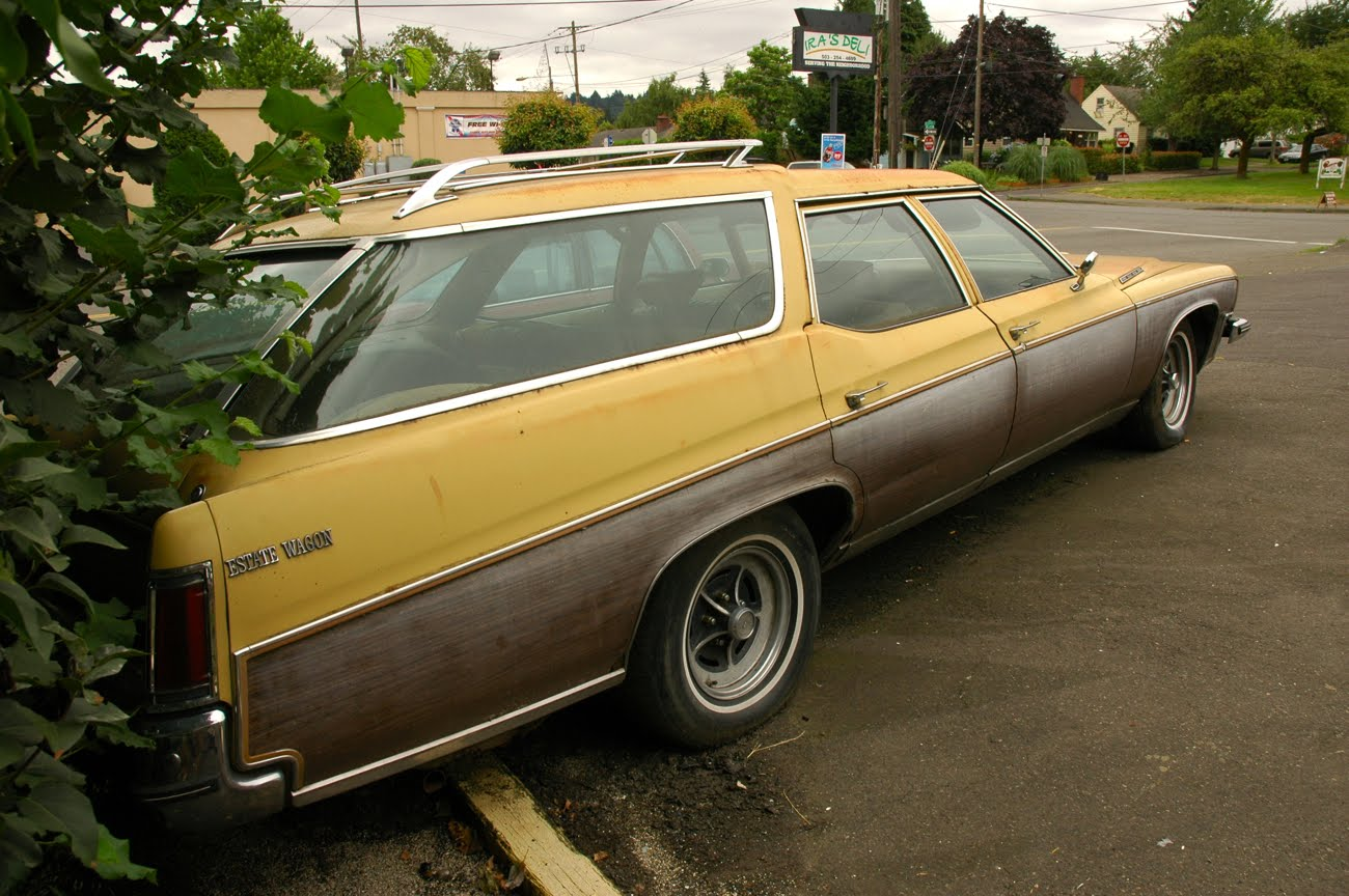 OLD PARKED CARS.: 1973 Buick Estate Wagon.
