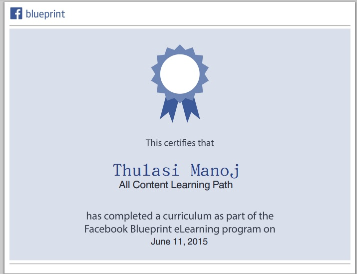 Thulasimanoj how to get certified on facebook blueprint elearning facebook blueprint certification of thulasi devi s malvernweather Choice Image