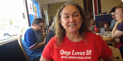 "Oma shows off her new Allied Shirts at her favorite Restaurant, ""Home Sweet Home"""