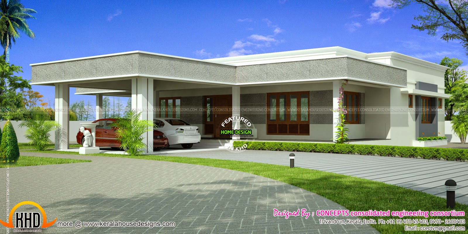 Single storied residence with 2 car park facility kerala Flat house plans