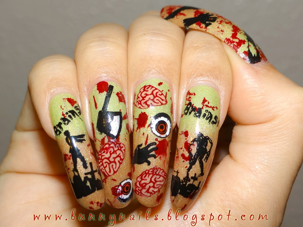 For this nail art, I started with Sun Kissed by Cameo Colours as the base.  It is a thermal nail polish which is orange-beige when cold and lime green  when ... - Modern Nail Color: Halloween Nail Art: Zombie Mayhem