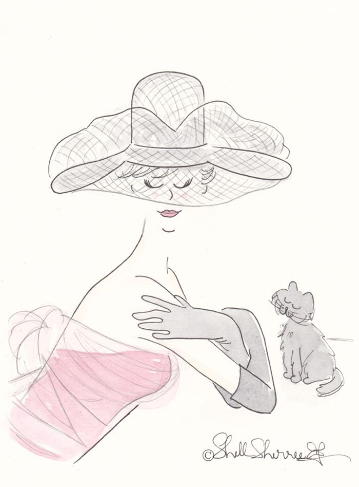 Fashion illustration, In the Pink with Netted Hat and Cat © Shell-Sherree