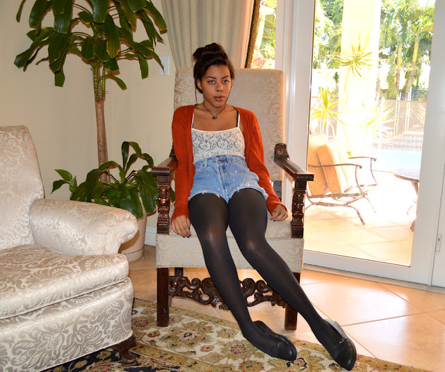 Fashion Blogger Anais Alexandre of Down to Stars in a vintage lace tank, vintage denim jean shorts, Target cardigan and Deena and Ozzy maryjanes