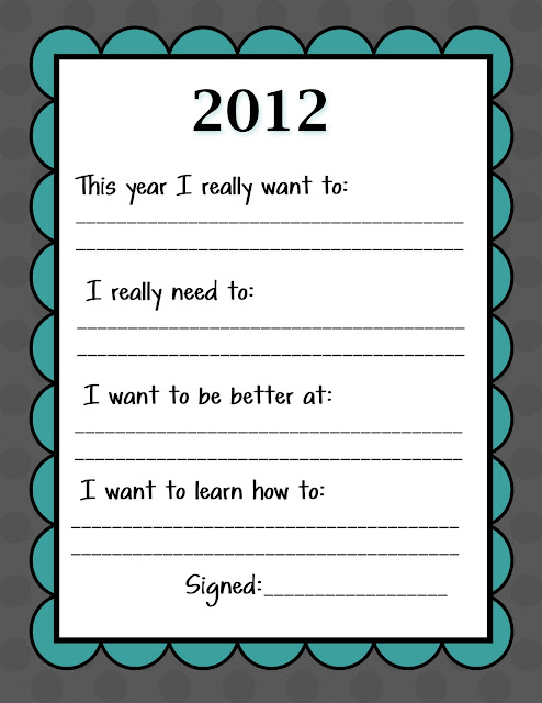 2012 New Years Resolutions { A Free Printable }
