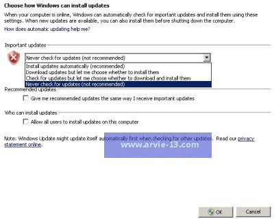 Cara Mematikan Windows Update Otomatis di Windows XP, Vista, 7 dan 8
