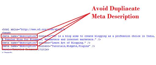 Duplicate Meta descriptions