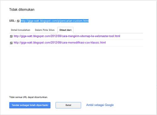 Cara mengatasi Kesalahan URL di Webmaster-Giga Watt